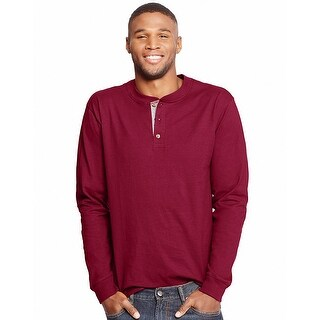 Hanes Men's Beefy-T Long-Sleeve Henley - Size - L - Color - Burnt Brick