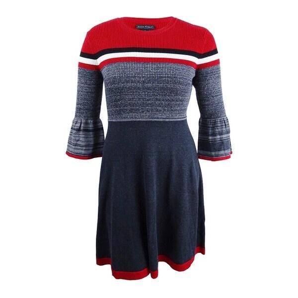 Jessica Howard Women's Striped Bell-Sleeve Fit & Flare Sweater Dress