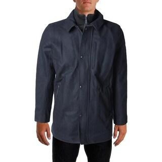 Calvin Klein Mens Wool Double Zipper Pea Coat