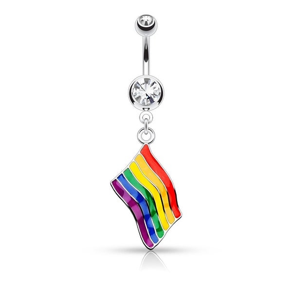 {Rainbow Flag} Flag Dangle Double Jeweled 316L Surgical Steel Belly Button Rings