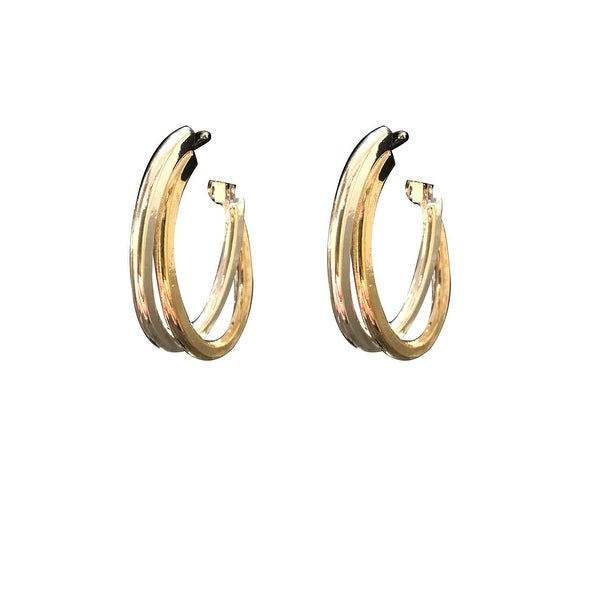 max & MO Two-Tone Overlapping Hoop Earring