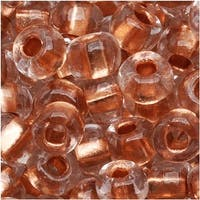 Czech Seed Beads 6/0 Clear Crystal Copper Foil Lined