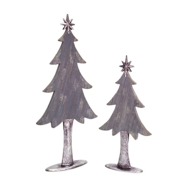 """Set of 2 Winter Light Two-Tone Silver and Gray Wooden Christmas Tree Decorations 27"""""""