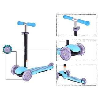 Goplus 3 LED Light Up PU Wheels Kids Kick Scooter Adjust Handle Bar Christmas Gift - Blue