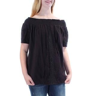 KAREN KANE $495 Womens New 1394 Black Off Shoulder Pleated Tunic Top M B+B