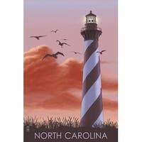 NC - Lighthouse at Sunrise - LP Artwork (100% Cotton Towel Absorbent)