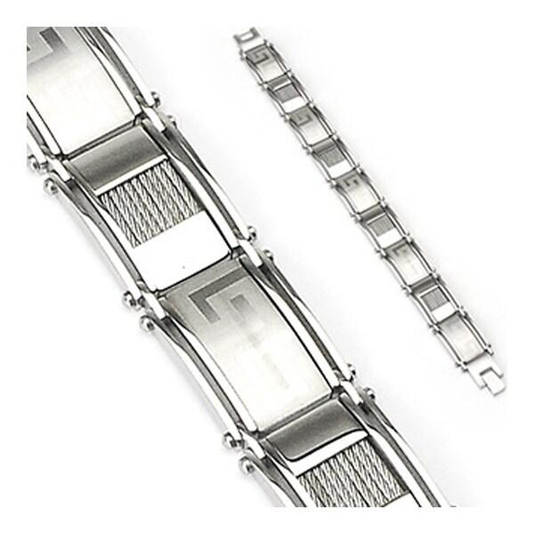 """Stainless Steel Azteca Wire Link Bracelet - 8.5"""" (16 mm) - 8.75 in"""