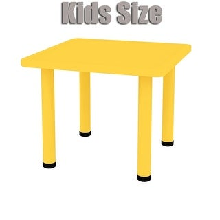"2xhome - Yellow - Kids Table - Height Adjustable 21.5"" to 22.5"" Square Shaped Plastic Activity Table with Metal Legs 24"" x 24"""