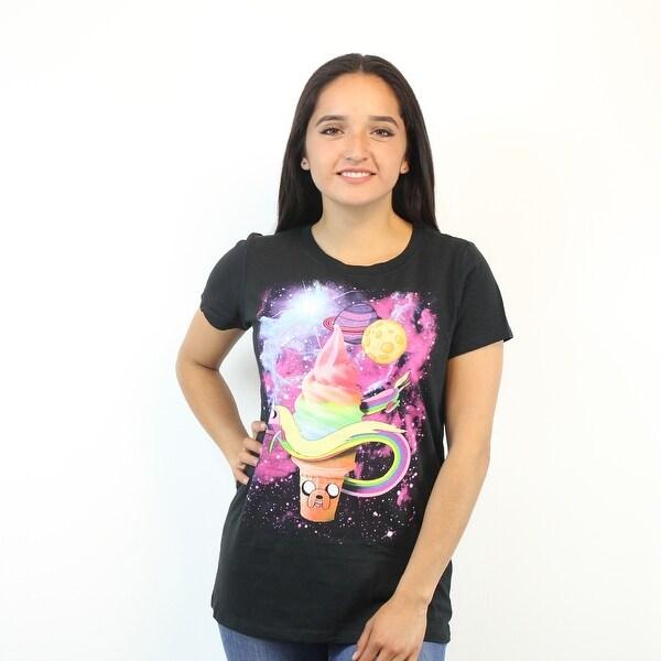 182bdd8621bde Shop Adventure Time Jake The Ice Cream Women's Black Galaxy T-Shirt ...