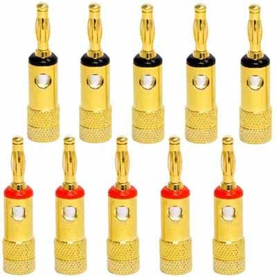 Seismic Audio 24K Banana Connectors Clips - 10 Pack (5 Red & 5 Black) for Speaker Cable / Wire
