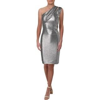 Lauren Ralph Lauren Womens Yumilla Cocktail Dress Metallic One Shoulder