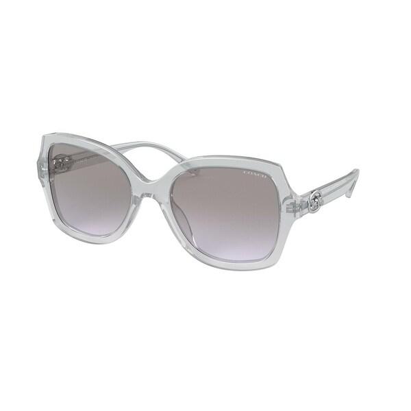 Coach HC8295F 56144Q 56 Transparent Grey Woman Square Sunglasses. Opens flyout.