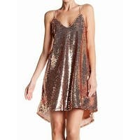 NSR Rose Womens Small Strappy V-Neck Sequin Shift Dress