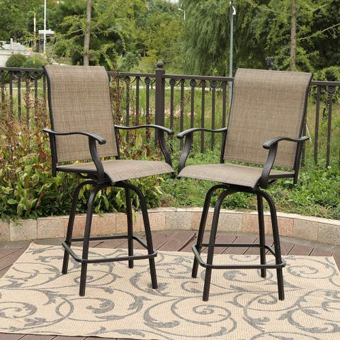 PHI VILLA All-weather Swivel Patio Bar Stools (Set of 2)