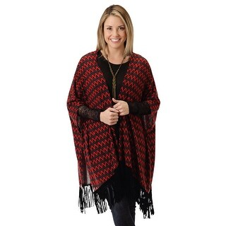 Roper Western Shirt Women L/S Fringe Poncho Red 03-058-0514-7015 RE