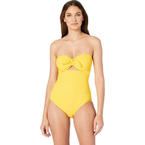 Kate Spade New York Grove Beach Tie Bandeau One-Piece Swimsuit, Limone, X-Large