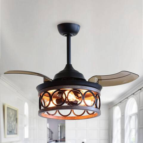 36-inch Metal Chandelier Retractable 3-Blade Ceiling Fan with Wall Switch