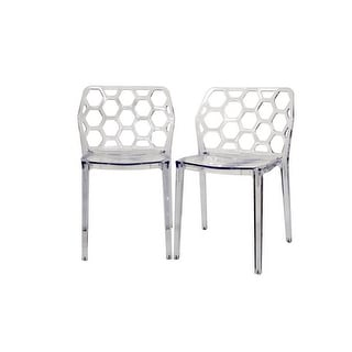 Honeycomb Clear Acrylic Modern Dining Chair - 2 Chairs