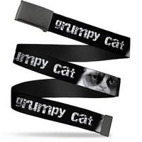Blank Black  Buckle Grumpy Cat W Face Close Up Black White Webbing Web Belt