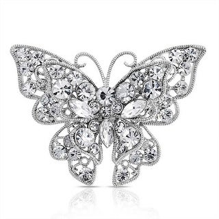 Bling Jewelry Clear Crystal Layered Butterfly Brooch Pin Silver Plated