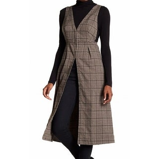 Free People NEW Brown Women's Size 12 Plaid Fit & Flare Long Vest
