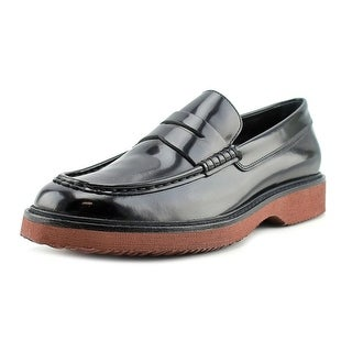 Hogan H217 Route Mocassino Men Round Toe Patent Leather Black Loafer