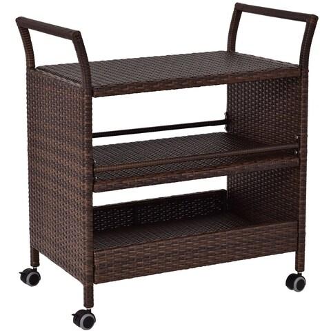 Gymax Rattan Rolling Serving Cart Shelves Rack Storage