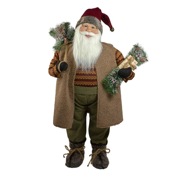 36 Country Rustic Standing Santa Claus Christmas Figure Overstock 20549823