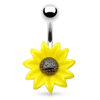 Acrylic Sunflower 316L Surgical Steel Navel Ring