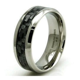 Stainless Steel Dark Wood Floorboard Design Inlay Ring