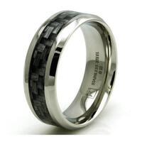 Stainless Steel Dark Wood Floorboard Design Inlay Ring