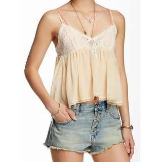 Free People NEW Beige Womens Size Small S Lace Ruffled Camisole Top