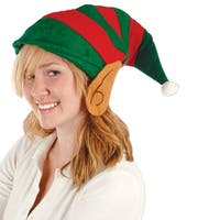Club Pack of 12 Red and Green Striped Felt Elf Hat with Ears - Adult Sized