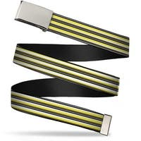 "Blank Chrome 1.0"" Buckle Voltron Belt Stripe Gray Black Yellows Webbing Web Web Belt 1.0"" Wide - S"