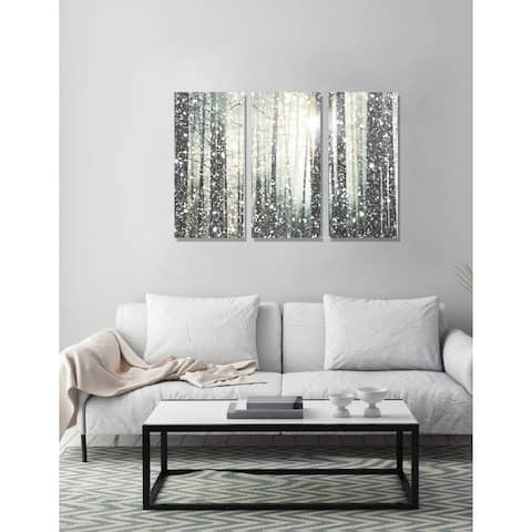 Oliver Gal 'Magical Forest SILVER Triptych' Nature and Landscape Wall Art Canvas Print - Brown, White