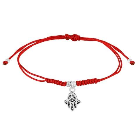 Handmade Mini Hamsa Hand Sterling Silver Charm on Red Cotton Rope Adjustable Bracelet (Thailand)