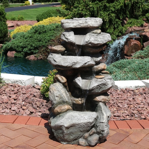 Sunnydaze Rock Falls Outdoor Waterfall Fountain with LED Lights - 34-Inch