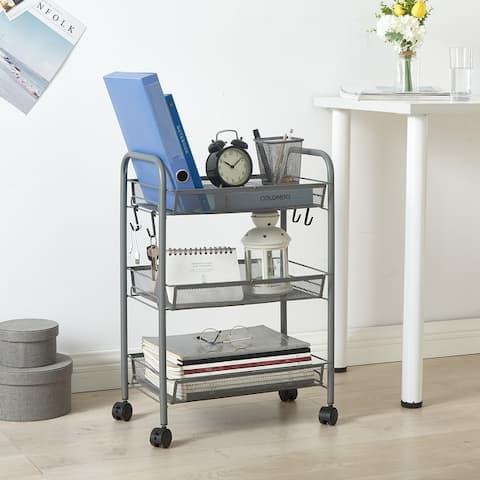 "Urban Shop 3 Tier Trolley Rolling Mesh Storage Cart - 17"" x 7"" x 29"""
