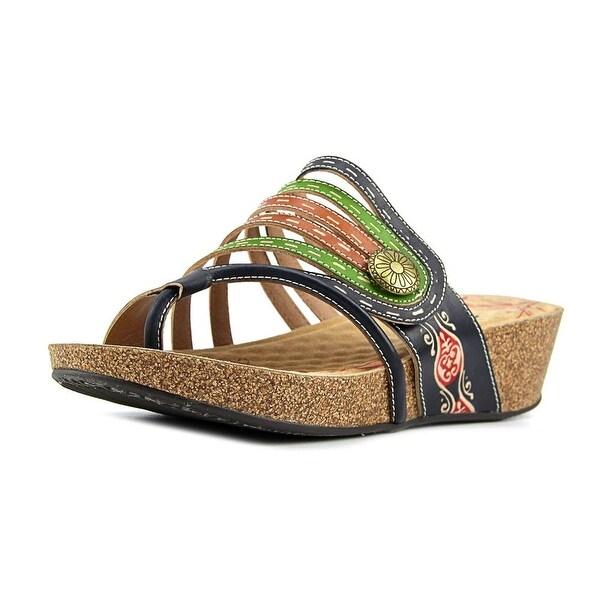 Spring Step Calen Women Open Toe Leather Blue Wedge Sandal