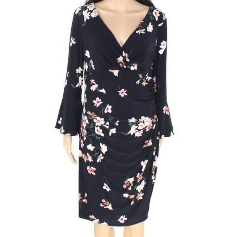 Lauren by Ralph Lauren Womens Dress Blue Size 16 Floral Ruched Surplice