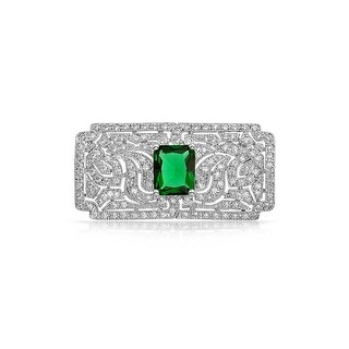 Bling Jewelry Green CZ Art Deco Style Brooch Rhodium Plated
