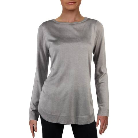 Cupio Womens Hather Pullover Sweater Lightweight Curved Hem - Grey - L