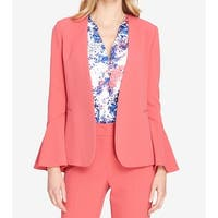 Tahari by ASL Pink Womens Size 8 Bell-Sleeve Kiss-Front Jacket