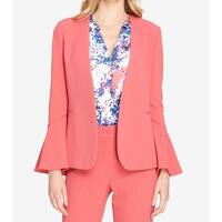 Tahari by ASL Pink Womens Size 8 Bell-Sleeve Open-Front Jacket