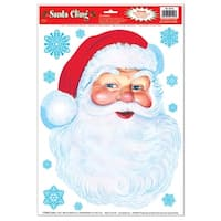 "Club Pack of 72 Santa Face and Snowflakes Window Cling Christmas Decorations 17"" - RED"