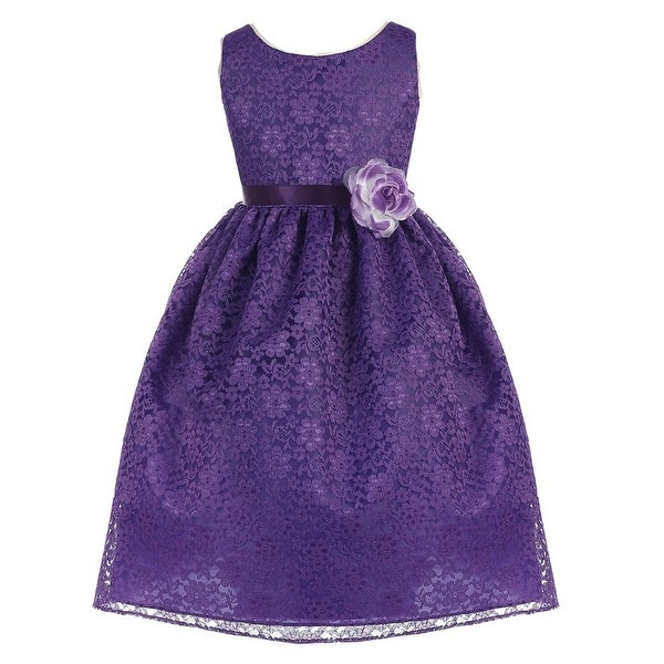 c04f967b6c1 Shop Girls Purple Floral Lace Junior Bridesmaid Dress 8-12 - Free Shipping  On Orders Over  45 - Overstock - 18168494