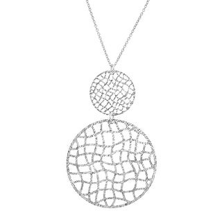 Organic Disc Drop Pendant in Sterling Silver - White