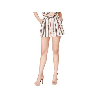 JOA Womens High-Waist Shorts Striped Pleated