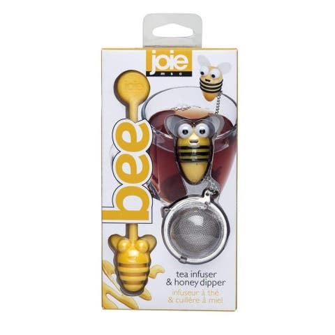 Joie Bee Themed Stainless Steel Loose Leaf Tea Infuser Ball and Honey Dipper Stick Set