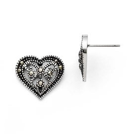 Chisel Stainless Steel Marcasite Textured Heart Post Earrings